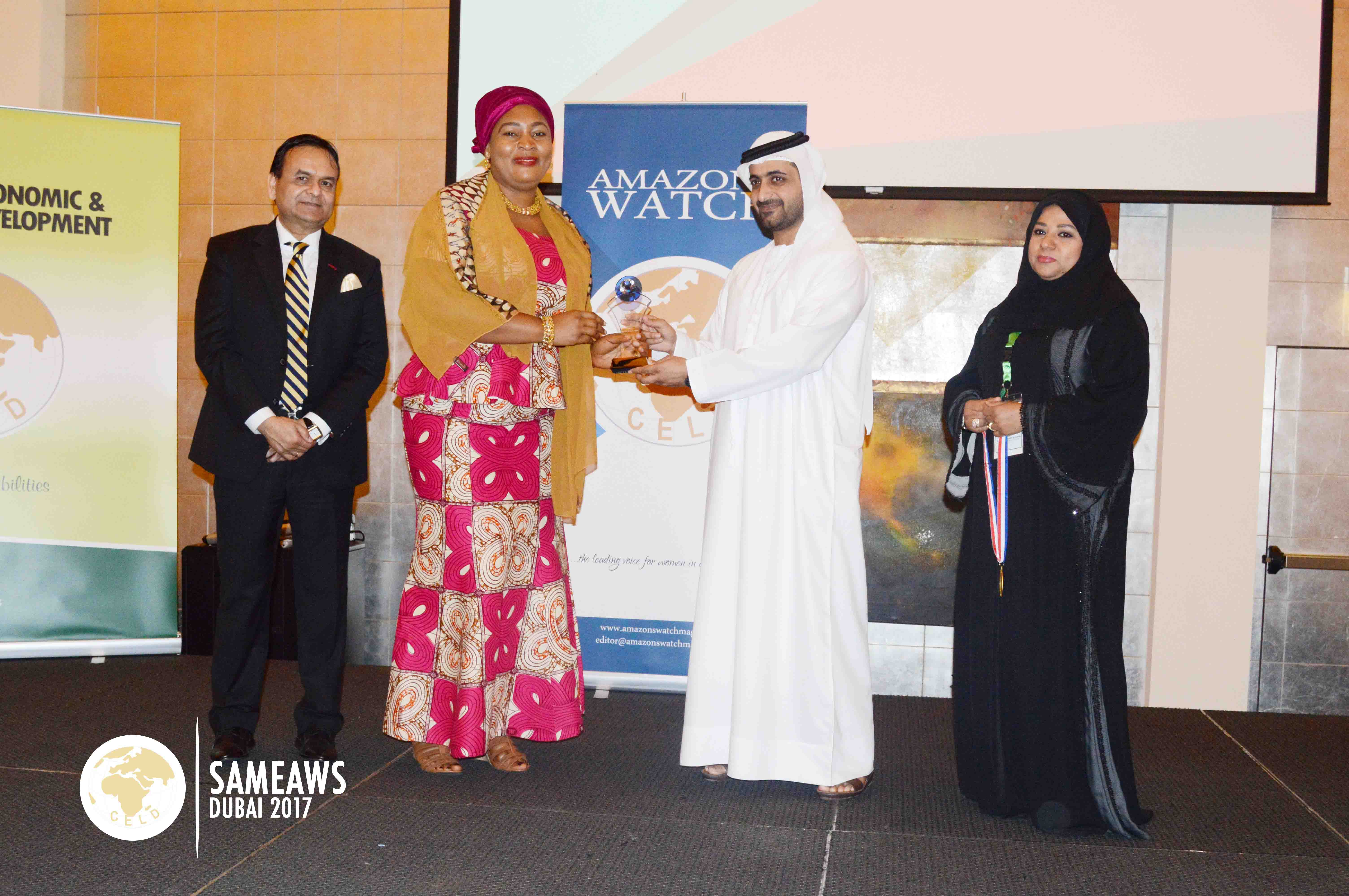 Abibata Shanni Mahama Zakari (Deputy CEO, MASLOC Ghana) recieving CELD's Global Female Inspirational Leadership Award during SAMEAWS 2017